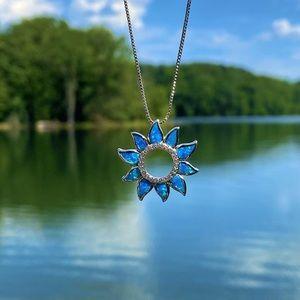 Australian Opal Open Sunflower Necklace